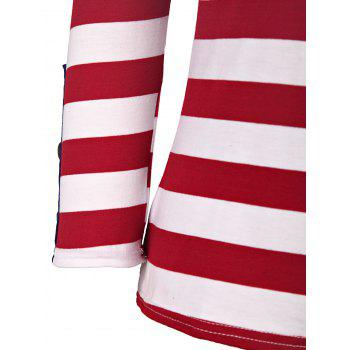 Casual Style 3/4 Sleeve Scoop Neck Buttoned Striped Women's T-Shirt - RED/WHITE RED/WHITE