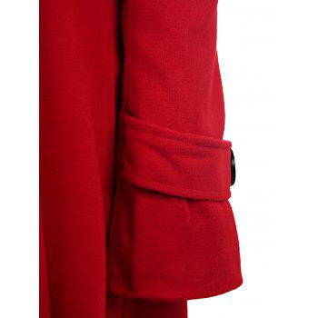 Double Breasted Fit and Flare Wool Coat - RED XL