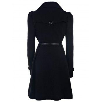 Double Breasted Fit and Flare Wool Coat - BLACK M