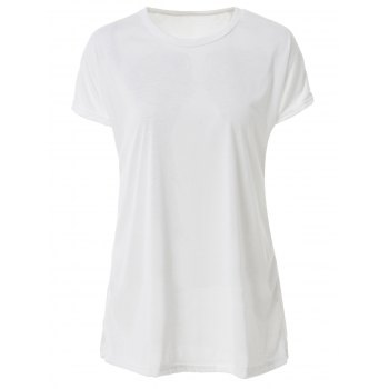 Casual Women's Scoop Neck Wing Pattern Loose-Fitting T-Shirt - WHITE S
