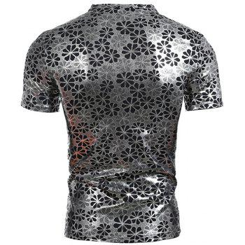 Flower Printing Men's Pullover Short Sleeves T-Shirt - SILVER SILVER