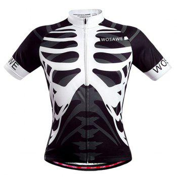 Hot Summer Sportswear Jerseys+Shorts Skeleton Pattern Cycling Sets For Outdoor Sport - WHITE/BLACK XL