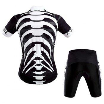 Hot Summer Sportswear Jerseys+Shorts Skeleton Pattern Cycling Sets For Outdoor Sport - WHITE/BLACK S