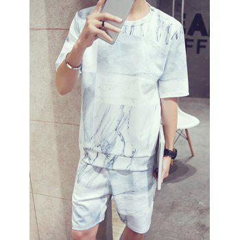 Men's Abstract Pattern Round Neck Short Sleeves T-Shirt Suits(T-Shirt+Shorts) - COLORMIX L
