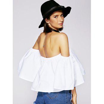 Off The Shoulder Ruffle Charmant Blouse Des Femmes - Blanc M