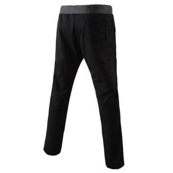 Color Block Splicing Design Lace-Up Narrow Feet Men's Pants - BLACK M