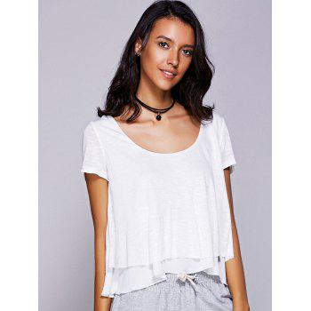 Firstgrabber Casual Women's Scoop Neck Ruffled Tiered T-Shirt
