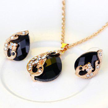 A Suit of Rhinestone Faux Crystal Peacock Necklace Ring and Earrings - BLACK