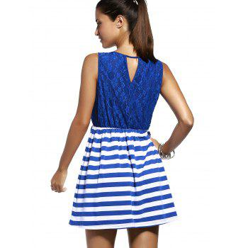 Chic Lace Spliced Cut Out Striped Sleeveless Dress For Women - PURPLISH BLUE S