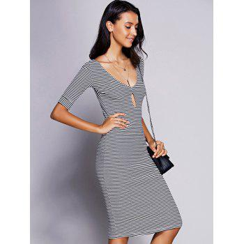 Stylish Women's Keyhole Neck Striped Midi Dress - BLACK M