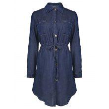 Stylish Long Sleeve Shirt Collar Denim Solid Color Women's Shirt Dress