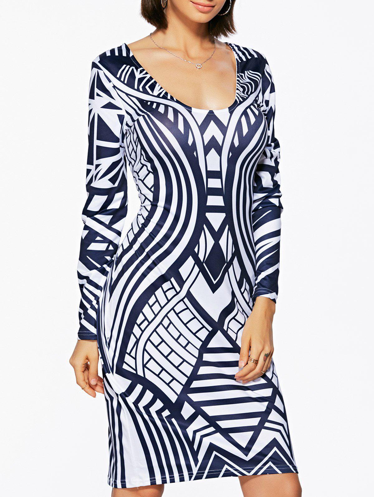 Bodycon Geometric Print Long Sleeve Scoop Neck Women's Dress - PURPLISH BLUE L