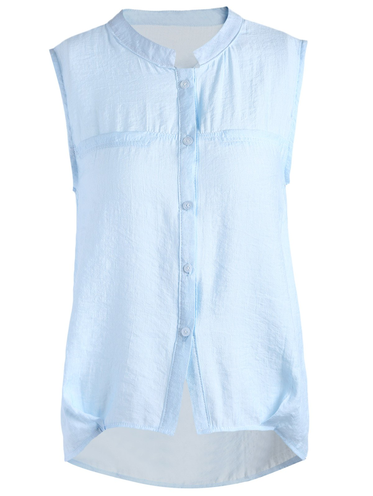 Casual Stand Collar Sleeveless Back Ruffled Women's Solid Color Shirt - LIGHT BLUE ONE SIZE(FIT SIZE XS TO M)