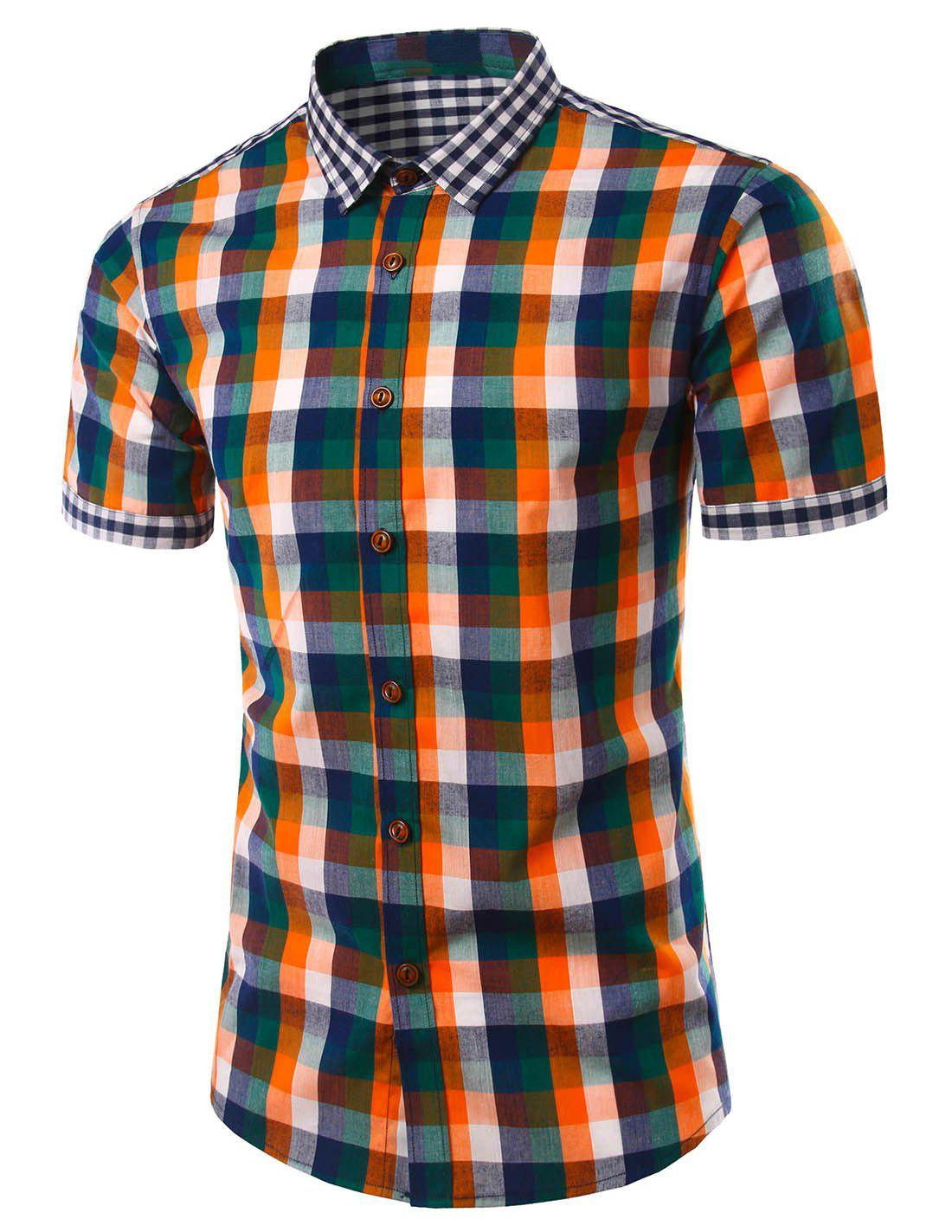 Slim Fit Turn Down Collar Plaid manches courtes Shirts pour hommes - Tangerine L