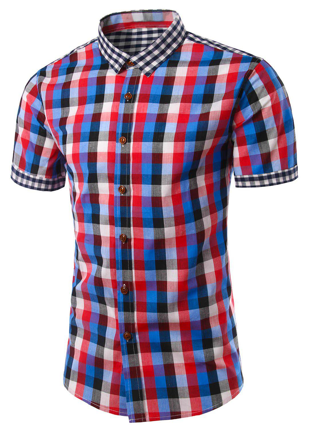 Slim Fit Turn Down Collar Plaid Short Sleeves Shirts For Men - RED L