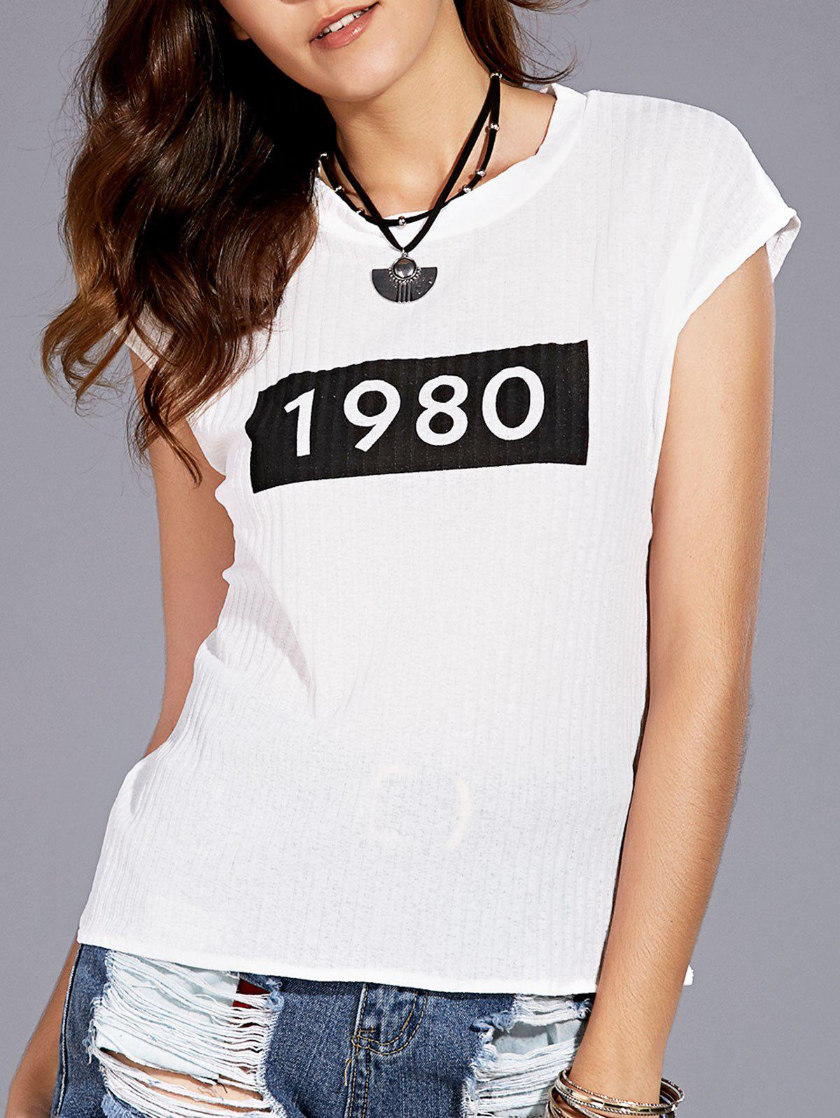 Trendy Round Collar Slimming Number Print Women's T-Shirt - WHITE ONE SIZE(FIT SIZE XS TO M)