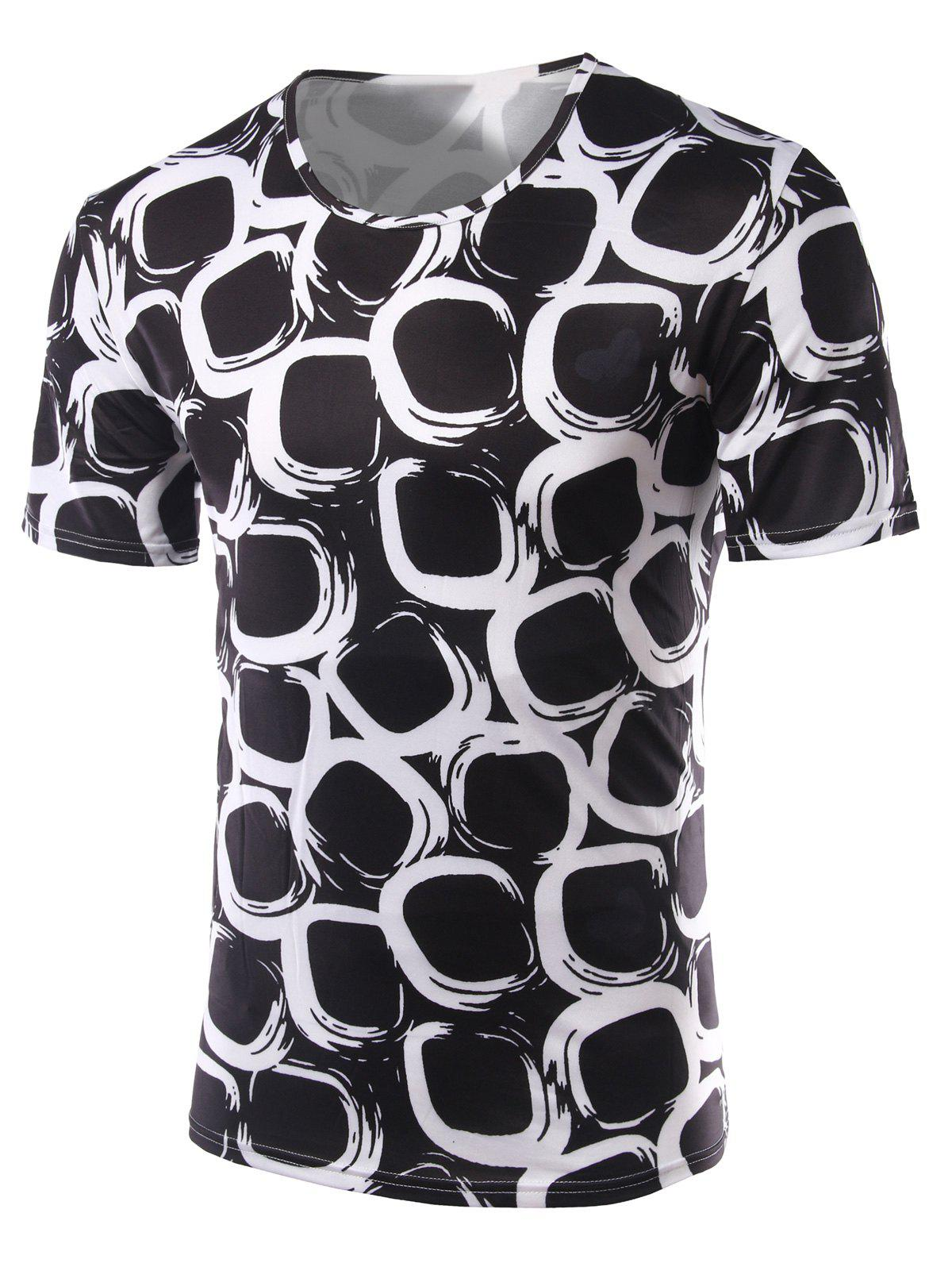 Slim Fit Printing Round Collar Short Sleeves T-Shirts For Men - BLACK 2XL