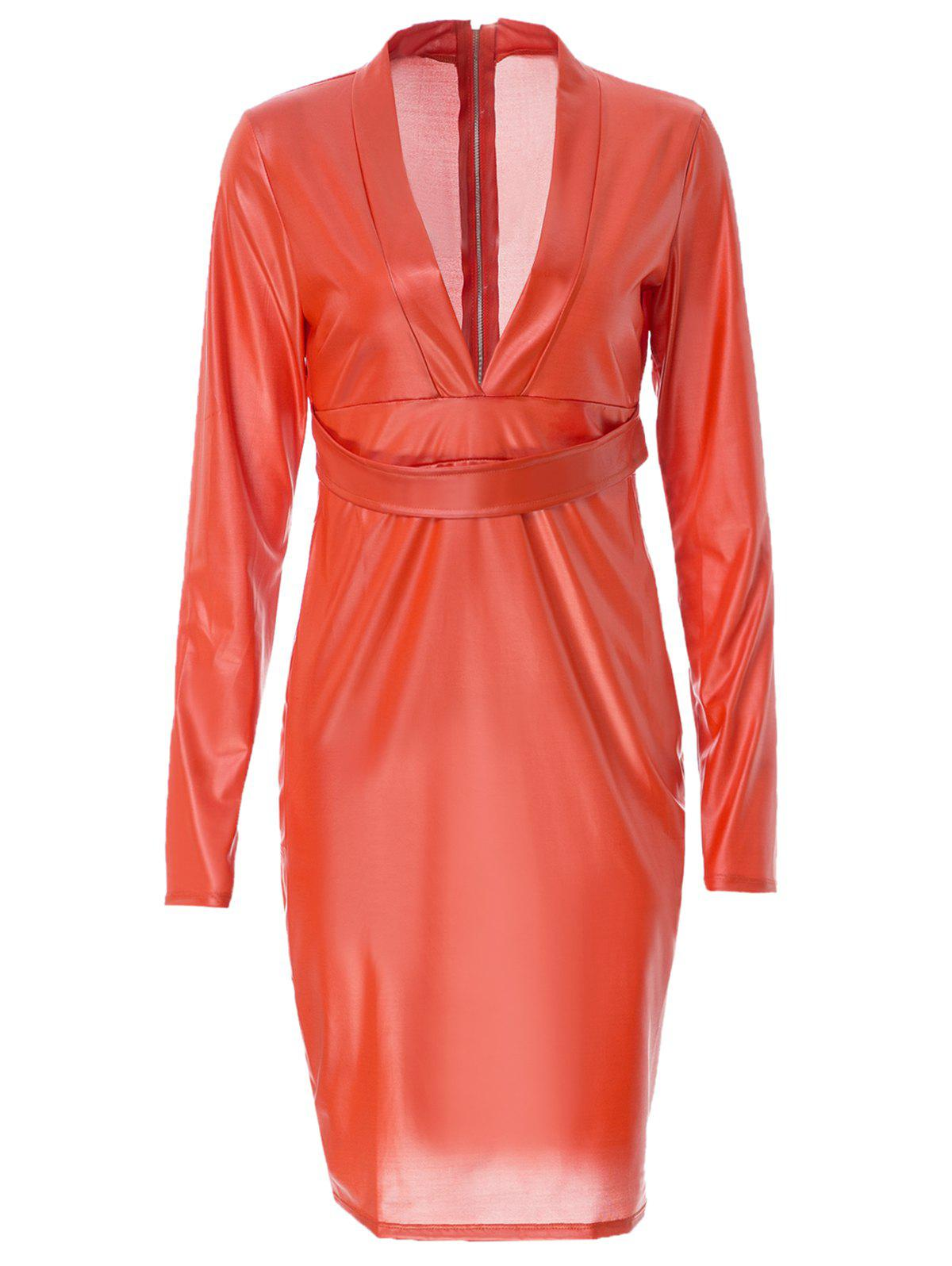 Sexy Style Plunging Neck Faux Leather Packet Buttock Long Sleeve Dress For Women - RED M