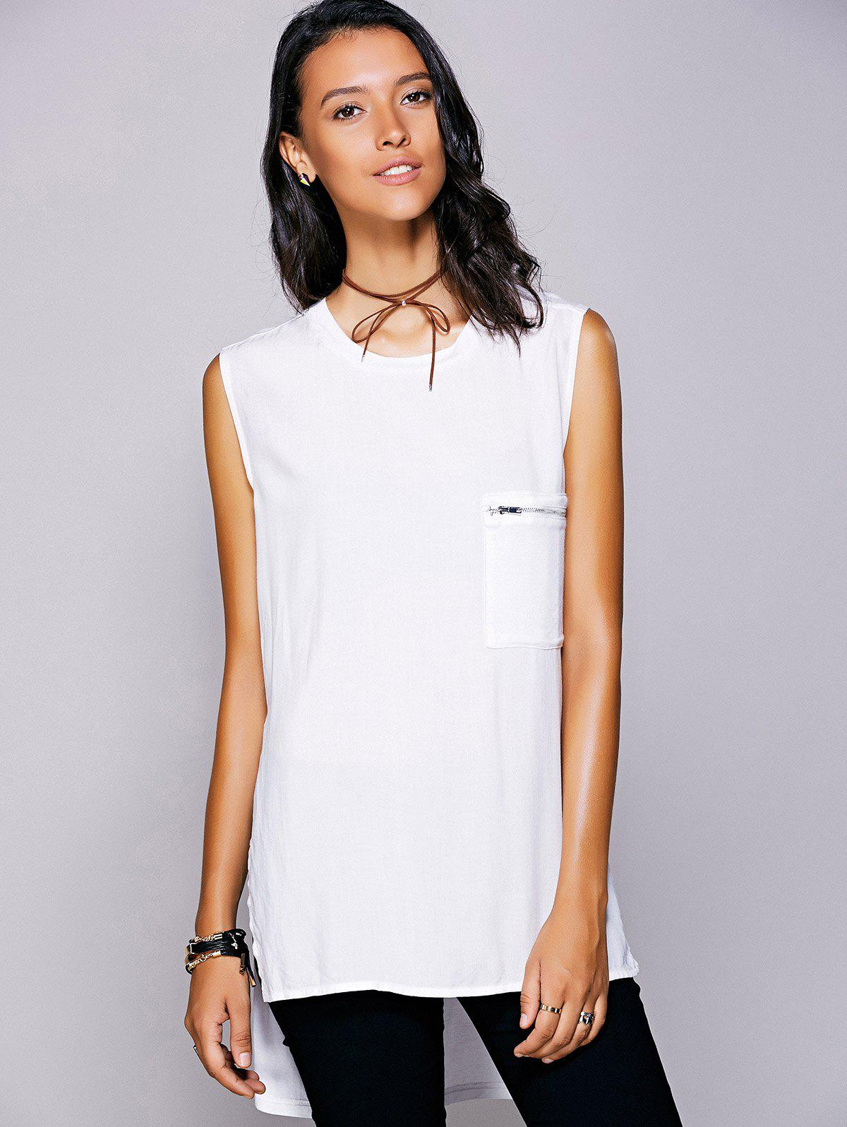 Casual Women's Jewel Neck Slit High Low Top - WHITE M
