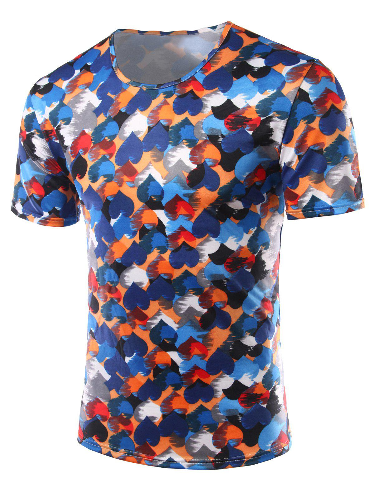 Slim Fit Heart Printing Round Collar Short Sleeves T-Shirts For Men - COLORFUL M