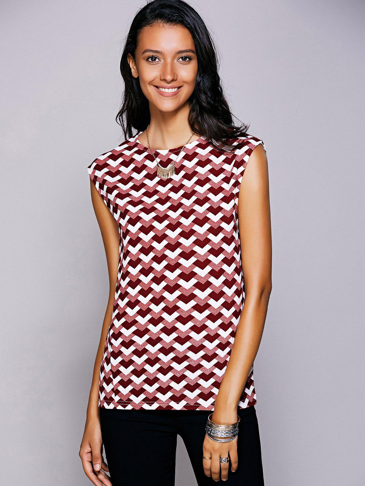 Casual Women's Round Neck Geometric Top