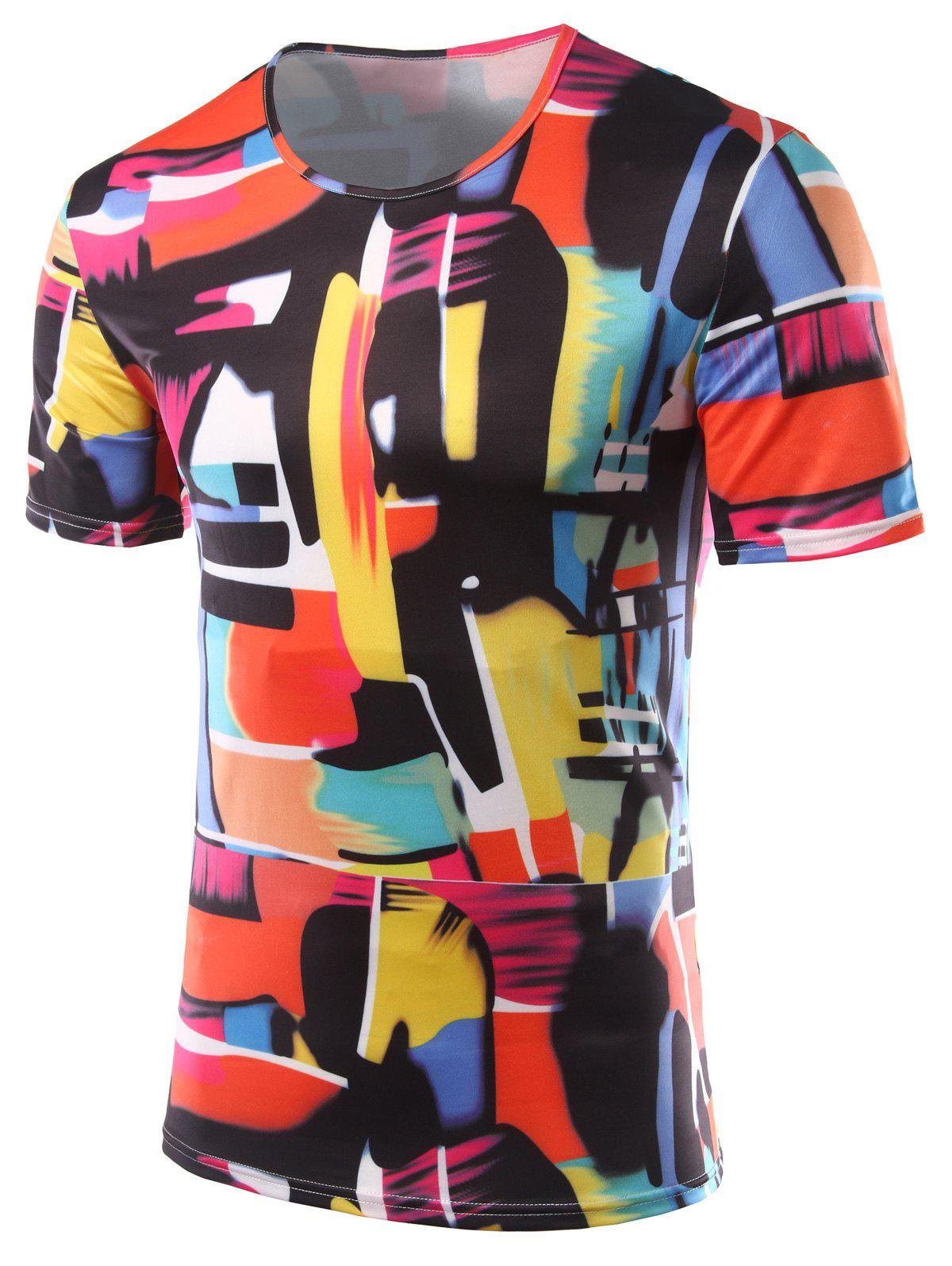 Slim Fit Color Printing Round Collar Short Sleeves T-Shirts For Men - COLORFUL 2XL