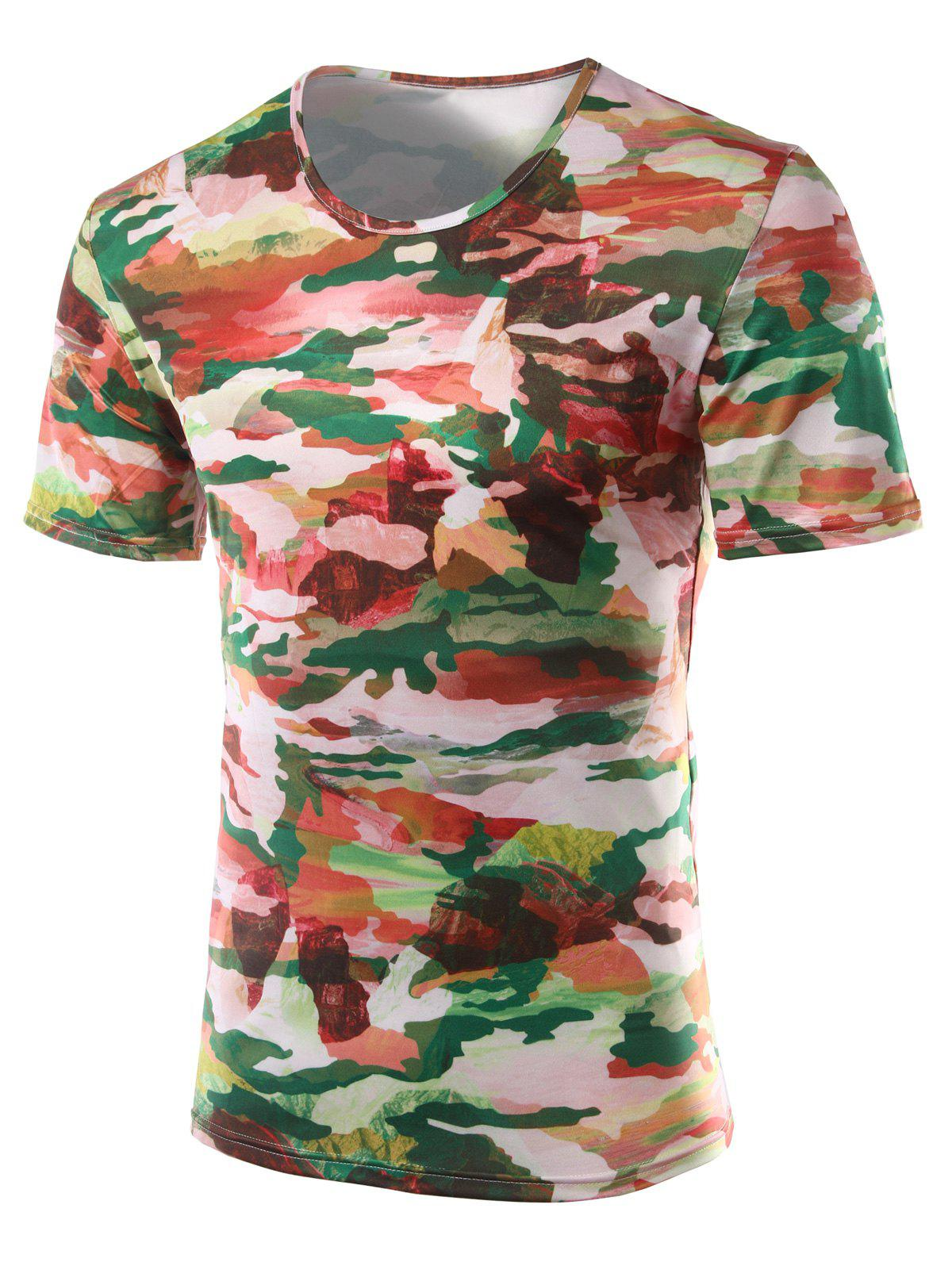 Slim Fit Printed Round Collar Short Sleeves T-Shirts For Men - COLORMIX 2XL