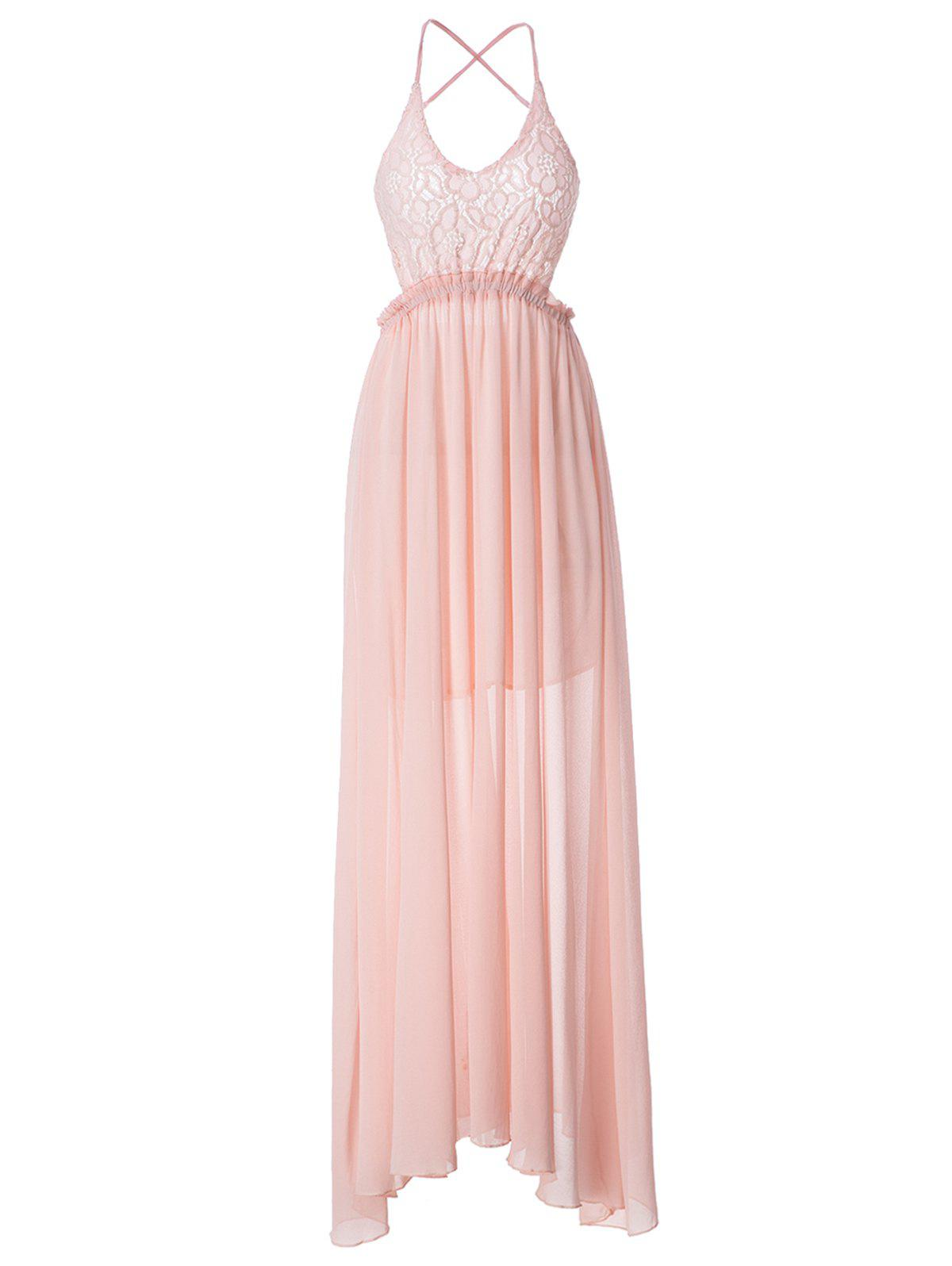 Solid Color Backless Sleeveless V-Neck Lace Splcing Wide Hem Alluring Dress - PINK L