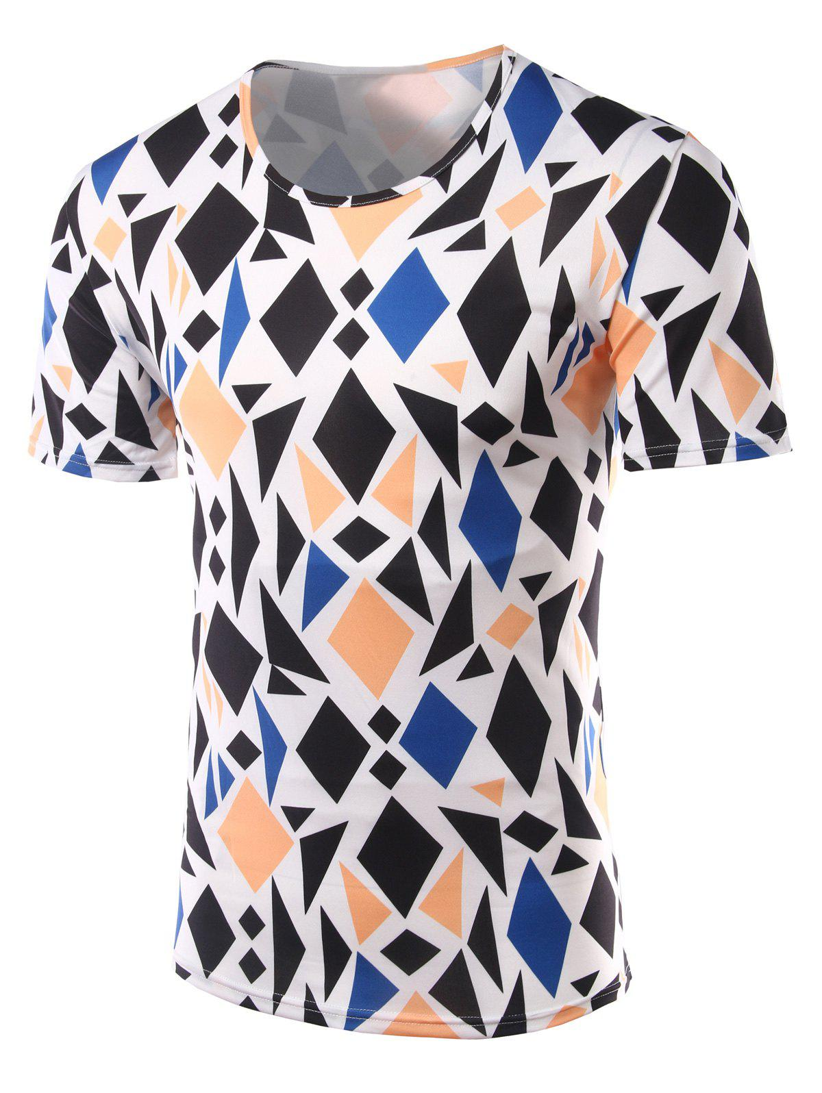 Slim Fit Geometric Figure Printed Round Collar Short Sleeves T-Shirts For Men - COLORMIX L