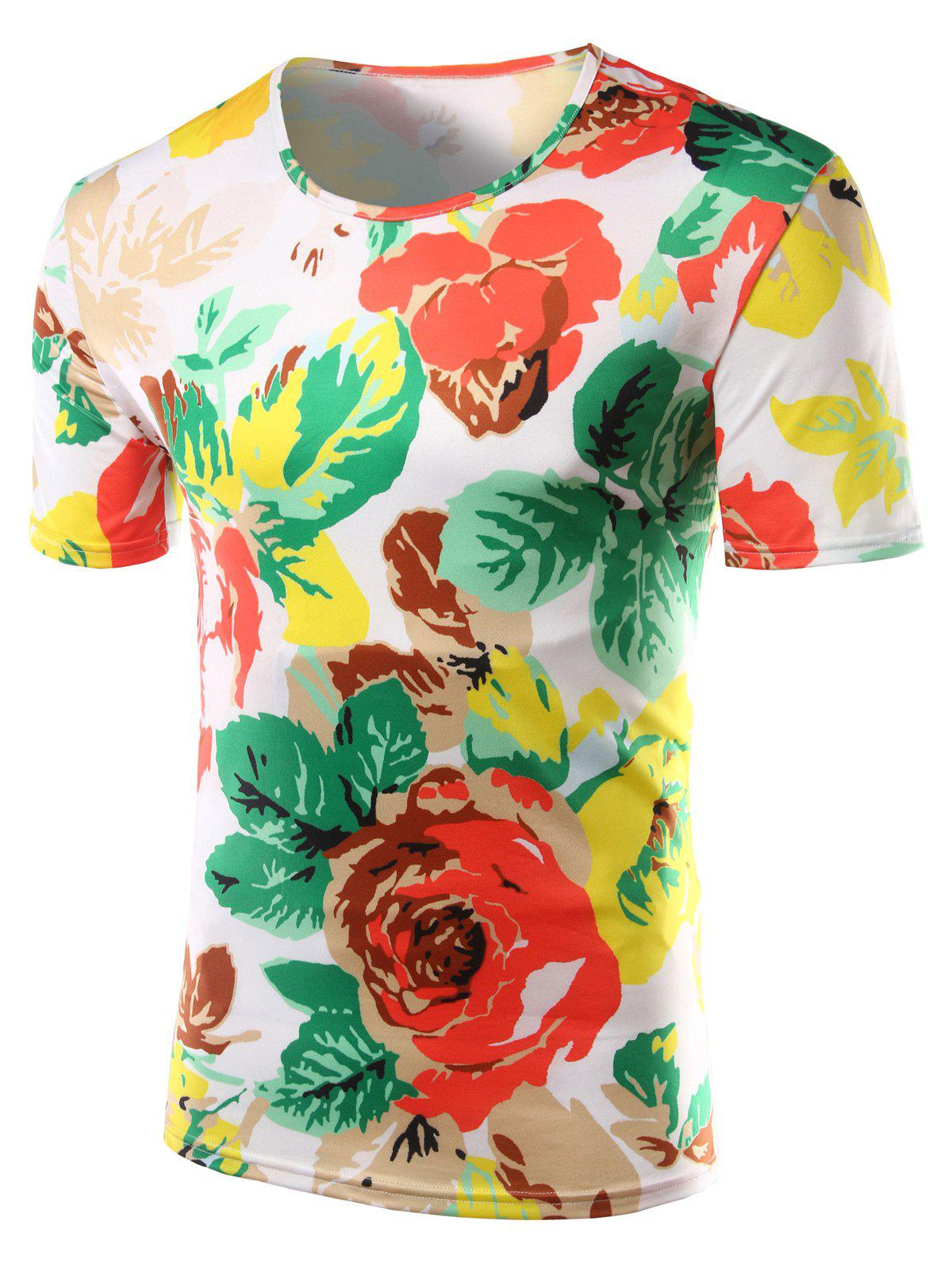 Slim Fit Flower Printed Round Collar Short Sleeves T-Shirts For Men - COLORMIX 2XL