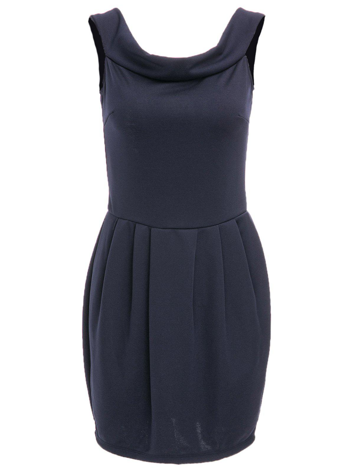 Chic Solid Color Boat Neck Zippered Dress For Women - DEEP BLUE M