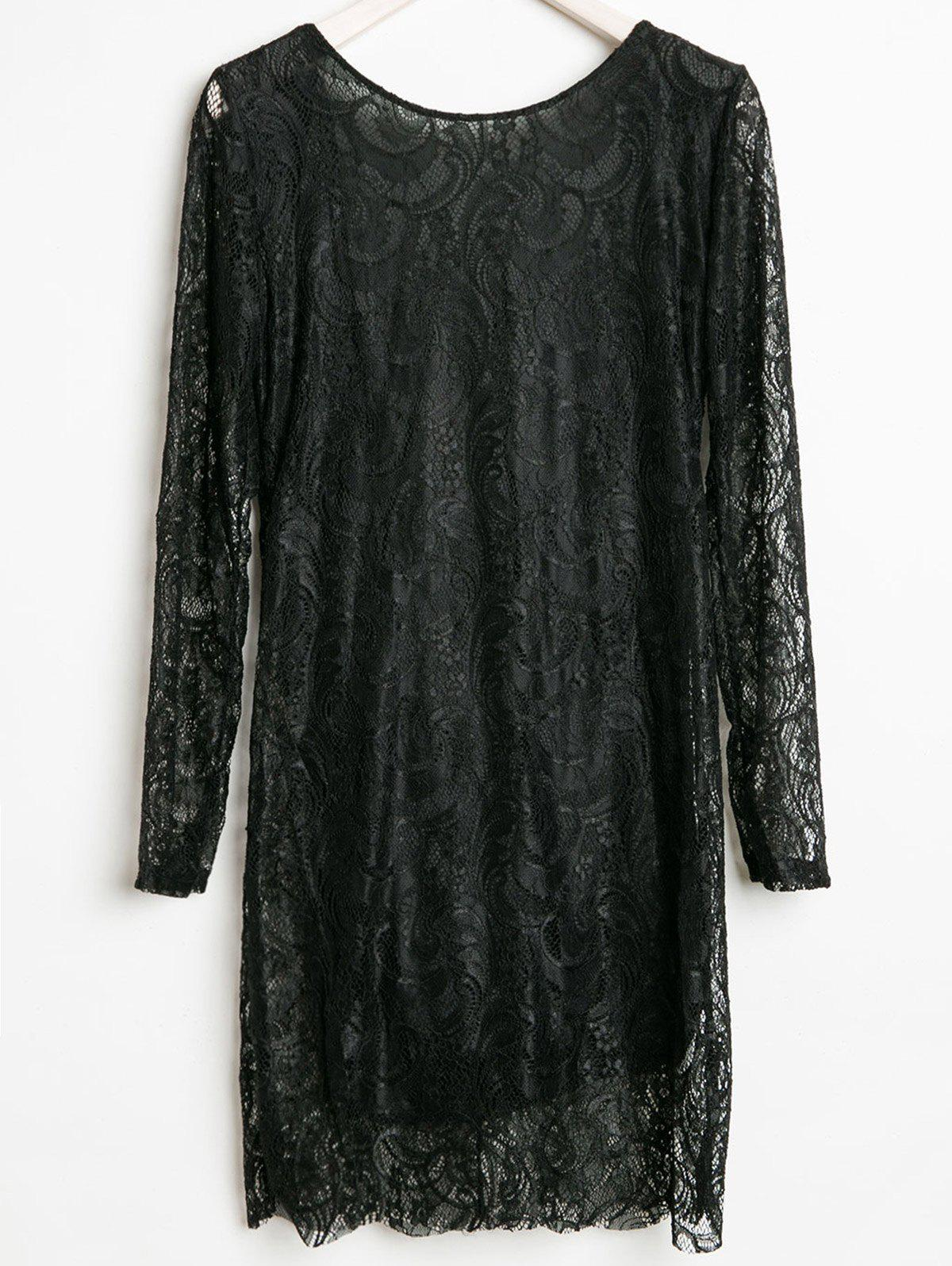 Openwork Design Long Sleeve Round Collar Backless Black Color Lace Packet Buttock Dress - L BLACK