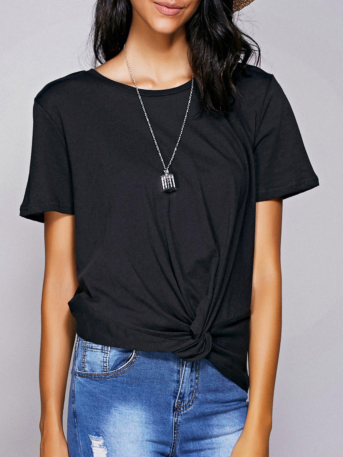 Casual Women's Round Neck Black Knot T-Shirt - BLACK L