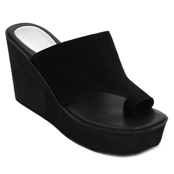 Leisure Wedge Heel and Dark Color Design Women's Slippers - BLACK 39