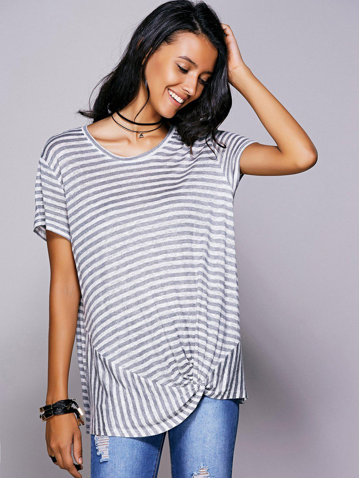 Casual Women's Scoop Neck Striped Twisted T-Shirt - GRAY L