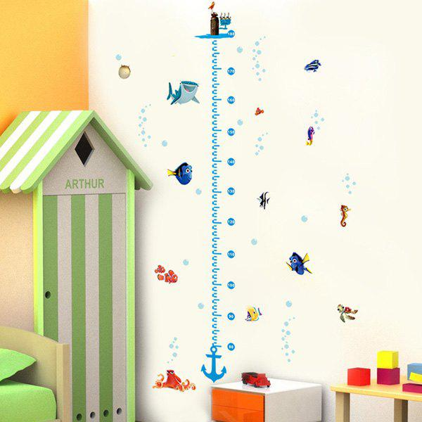 Fashion Cartoon Ocean Animals Pattern Height Wall Sticker For Children's Bedroom Decoration - COLORMIX