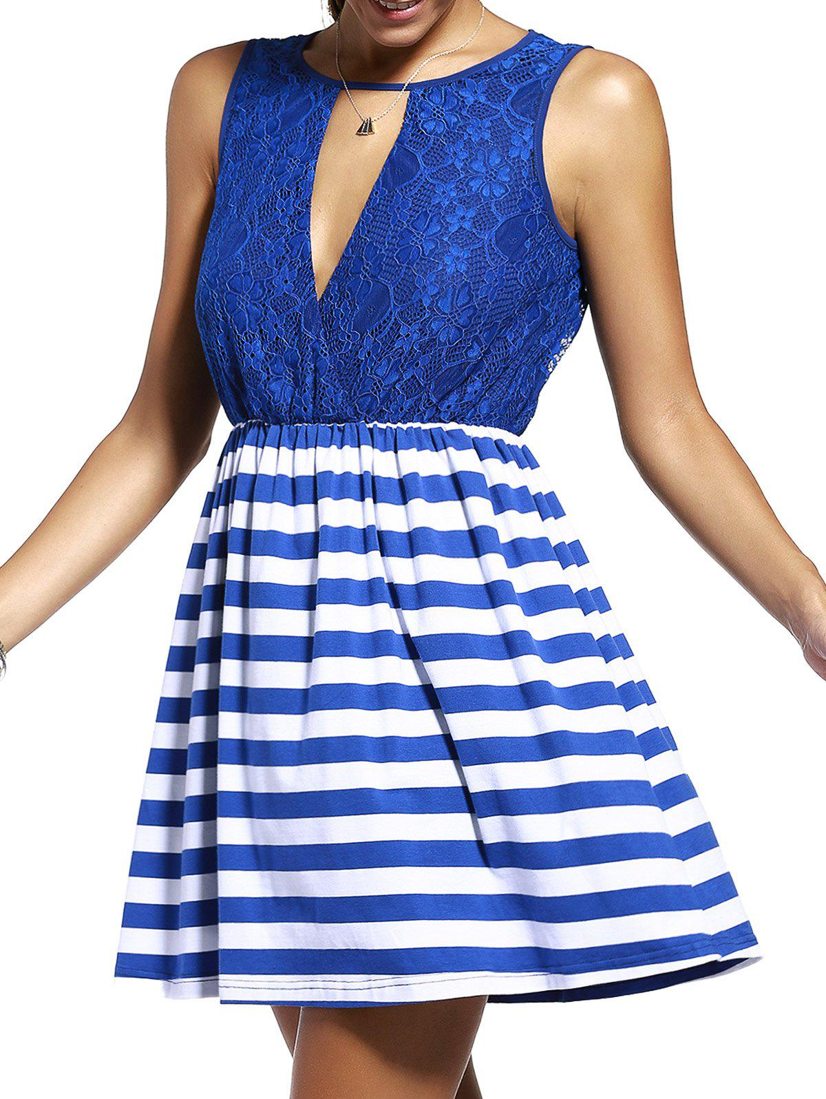 Chic Lace Spliced Cut Out Striped Sleeveless Dress For Women - PURPLISH BLUE L
