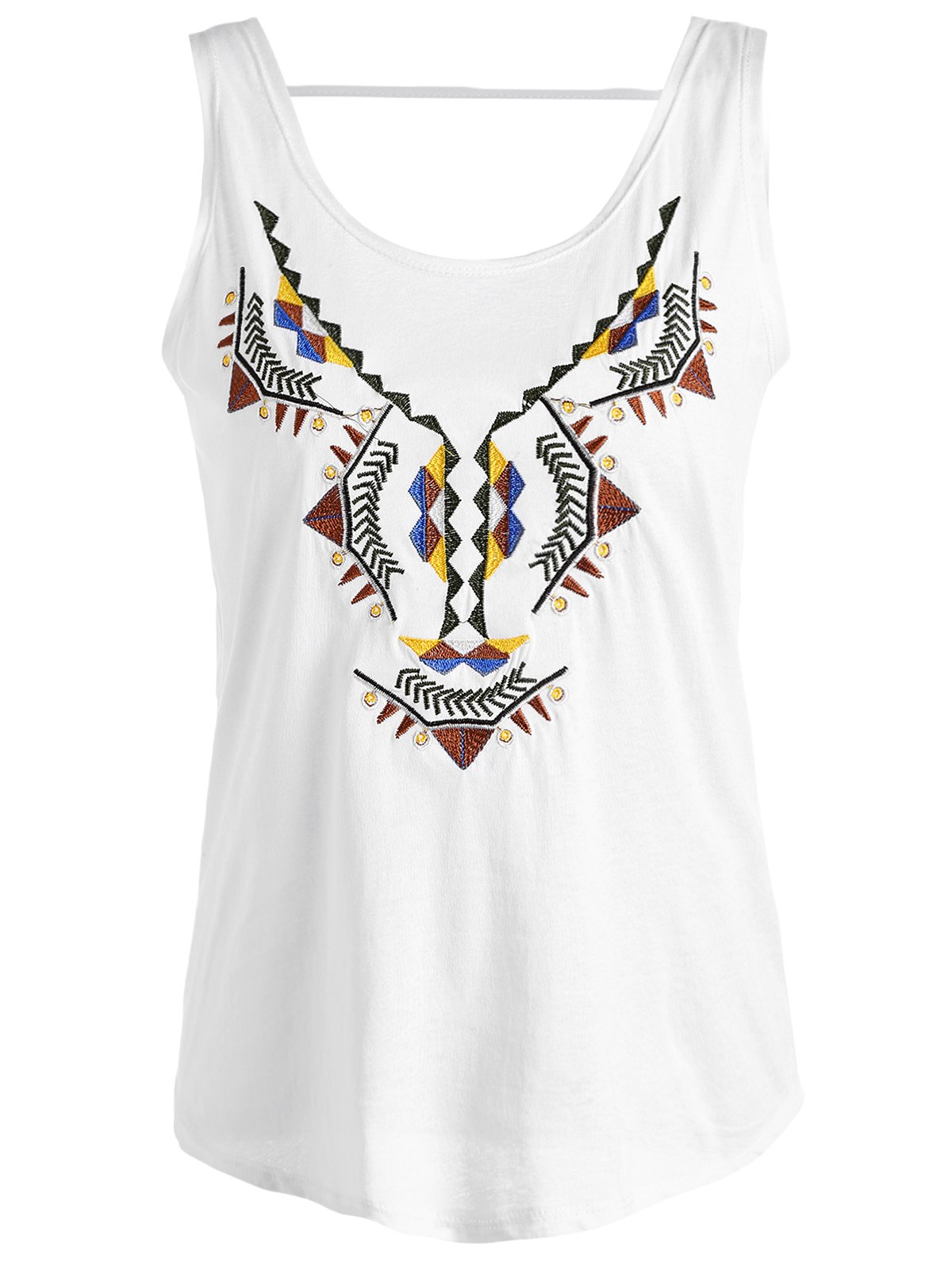 Trendy Embroidered Scoop Neck Women's Tank Top - WHITE ONE SIZE(FIT SIZE XS TO M)