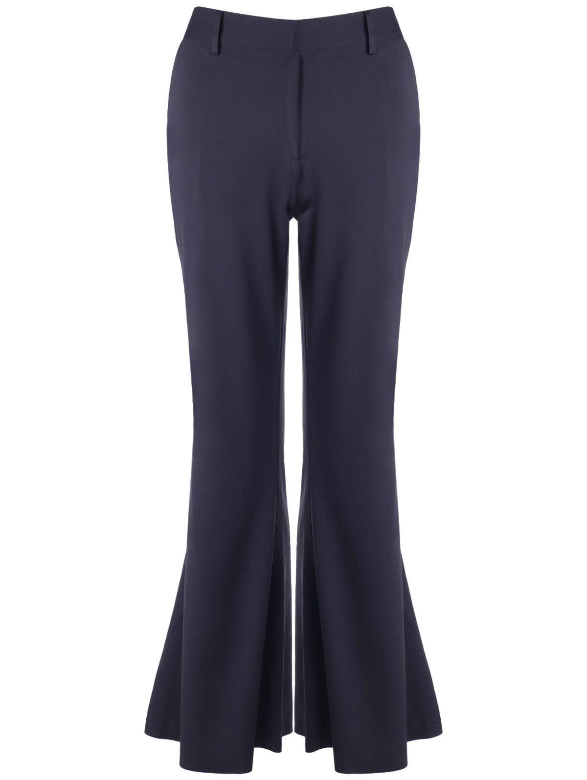 Bell Bottom Stretchy Trousers - BLACK S