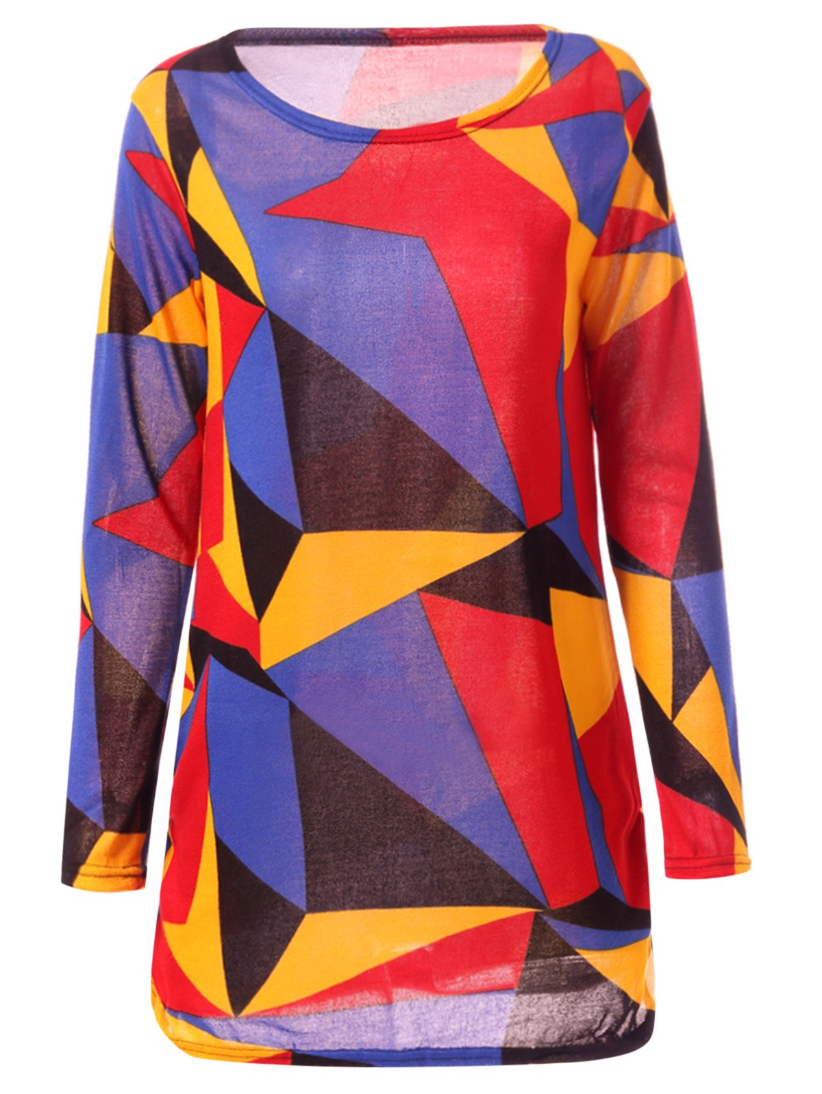 Colorful Geometric Print Long Sleeve Round Neck Loose T-ShirtWomen<br><br><br>Size: L<br>Color: COLORFUL