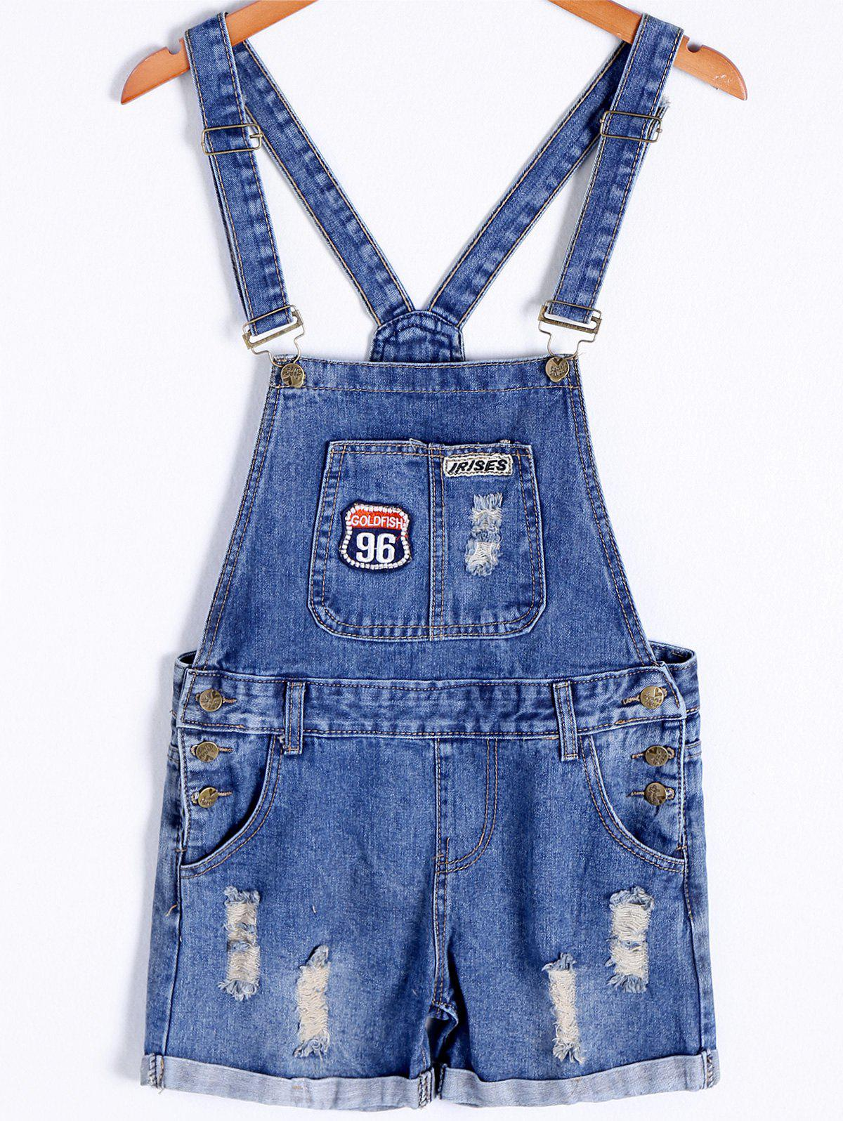 Trendy Flanging Frayed Pocket Women's Denim Overall Romper - BLUE M