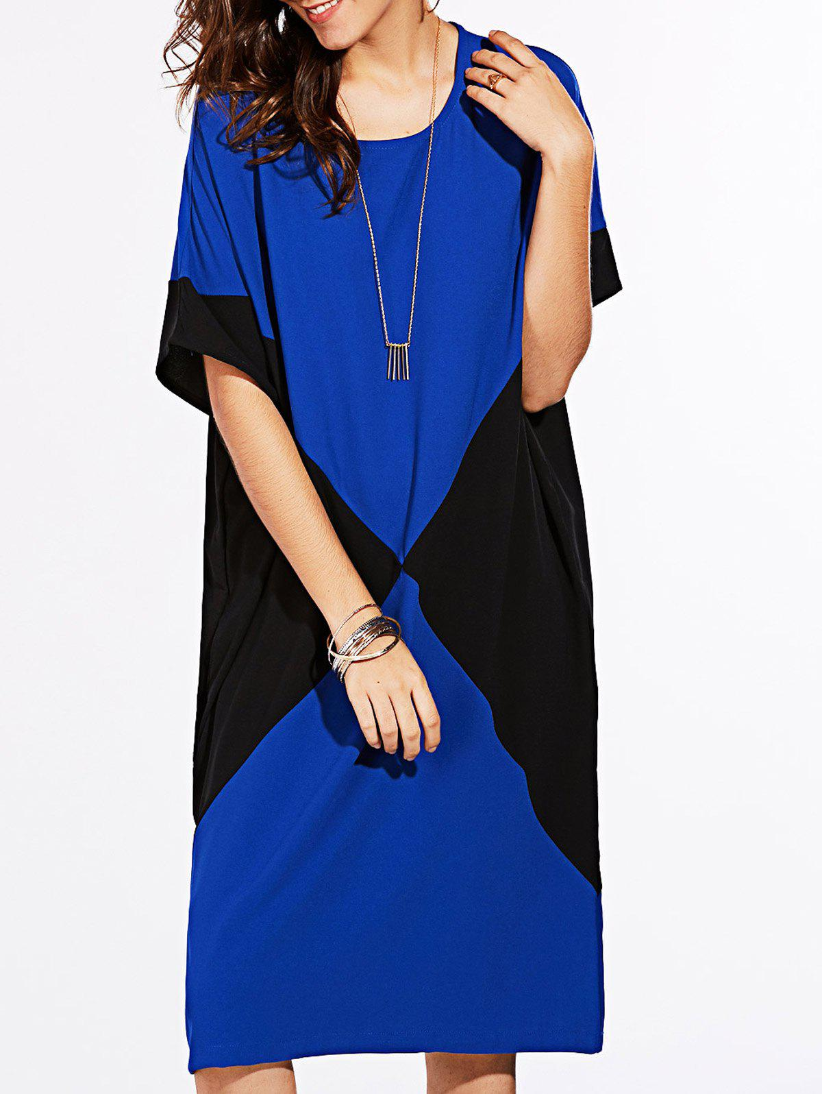 Trendy Loose-Fitting Color Block Women's Knee-Length Dress - SAPPHIRE BLUE ONE SIZE(FIT SIZE XS TO M)