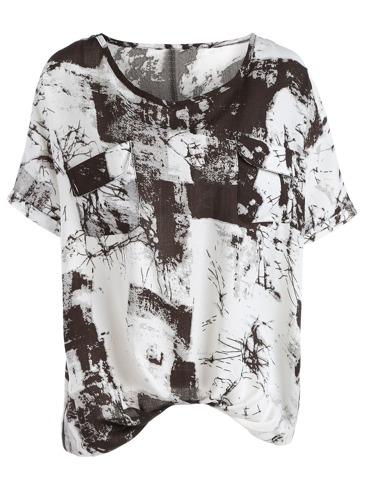 Casual Oil Painting Print Short Sleeve Women's T-Shirt - BLACK/GREY ONE SIZE(FIT SIZE XS TO M)