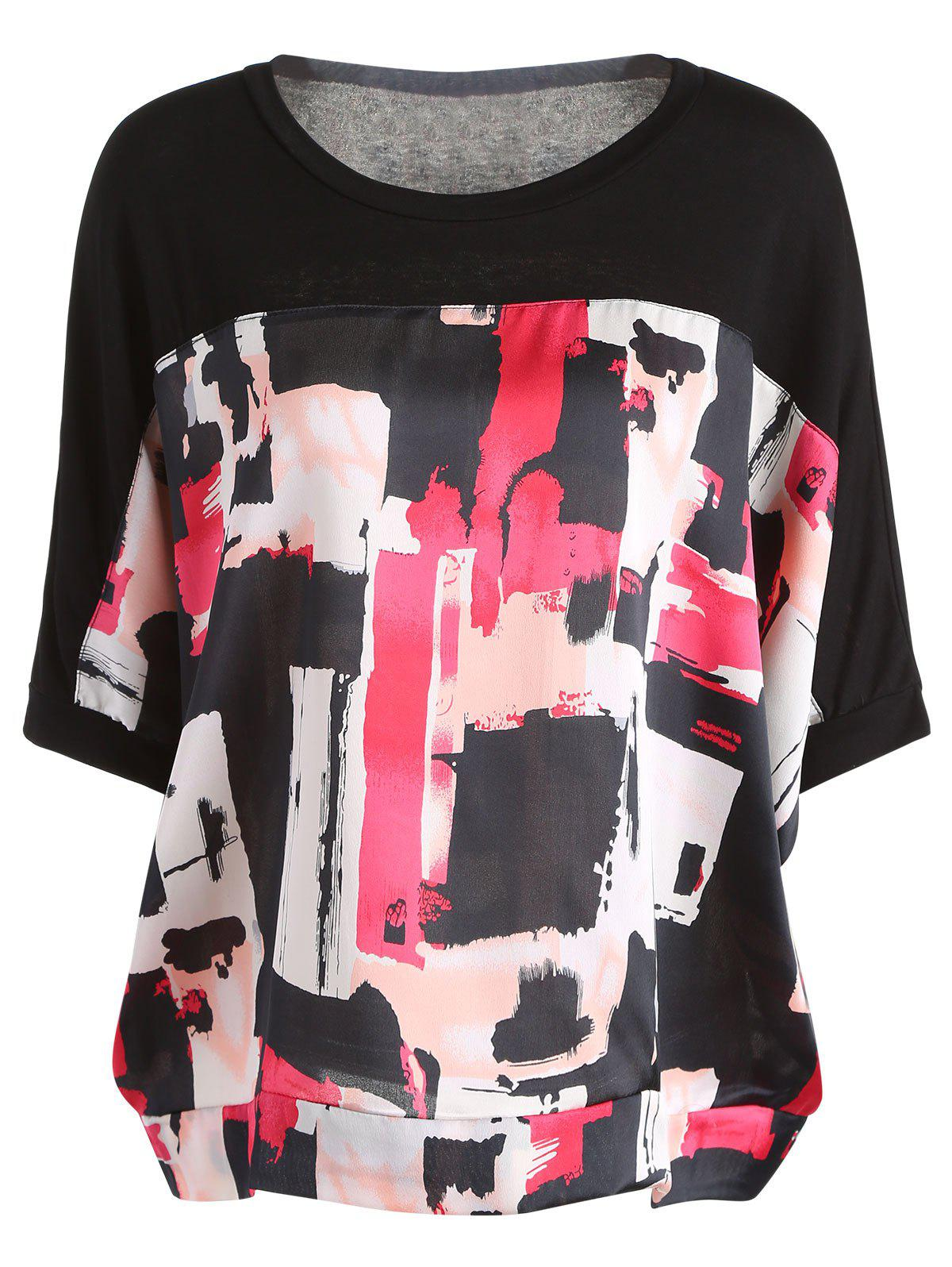 Casual Painting Print Half Sleeve Round Neck Women's T-Shirt - BLACK ONE SIZE(FIT SIZE XS TO M)