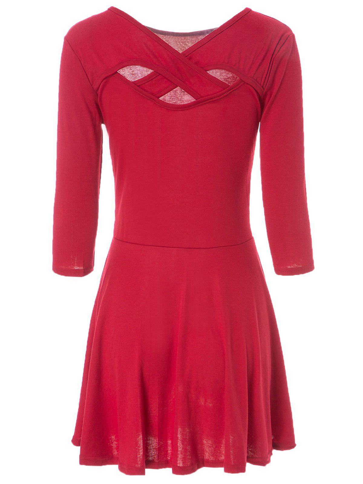 Simple V-Neck 3/4 Sleeve Solid Color Criss-Cross Hollow Out Women's Dress - WINE RED L