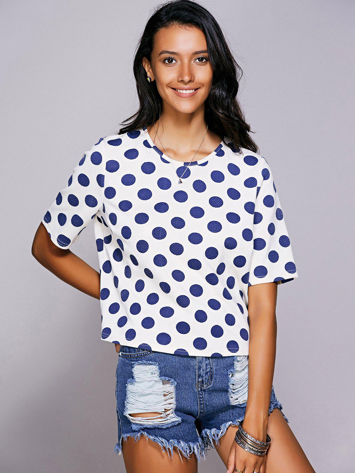 Casual Women's Jewel Neck Polka Dot Short Sleeve Tee - BLUE L