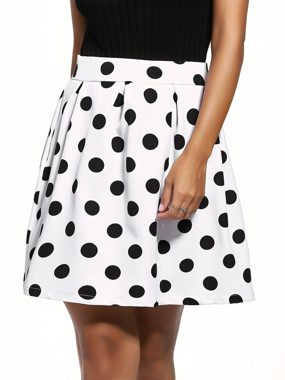 Vintage Black Polka Dot Print Sweet Skirt For Women - WHITE/BLACK L