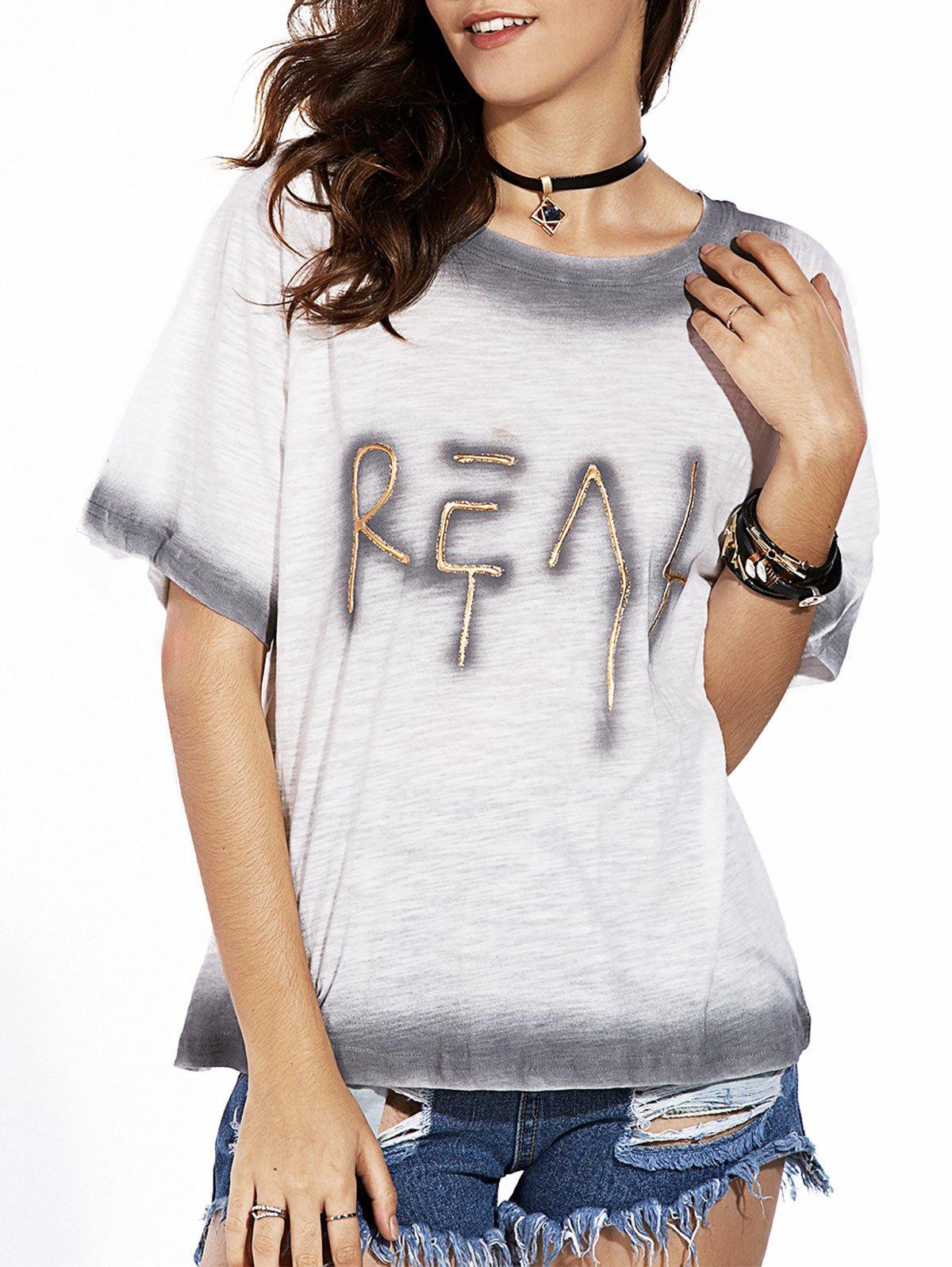 Chic Round Collar Loose-Fitting Letter Pattern Women's T-Shirt