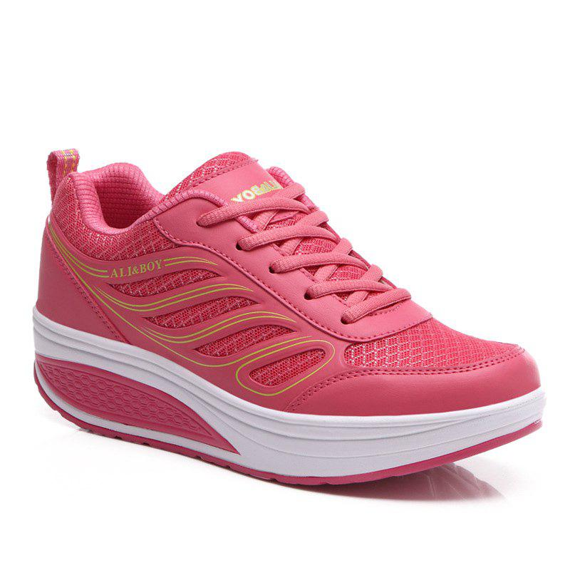 Fashionable Mesh and Lace-Up Design Women's Athletic Shoes - WATERMELON RED 40