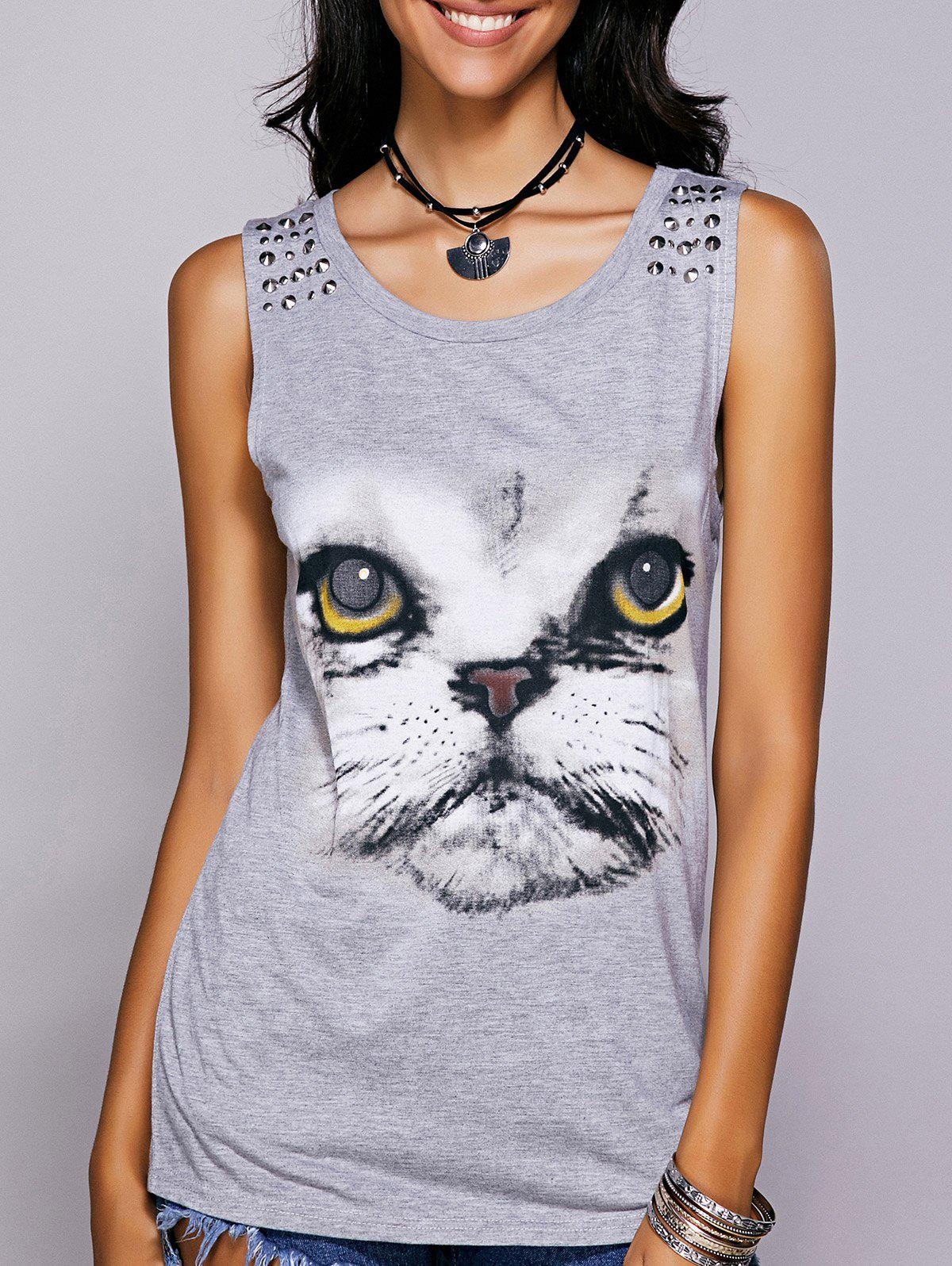 Casual Women's Scoop Neck Printed Studded Tee - GRAY L